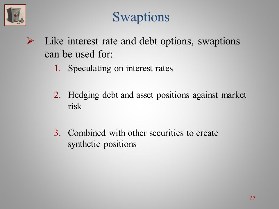 25 Swaptions Like interest rate and debt options, swaptions can be used for: 1.Speculating on interest rates 2.Hedging debt and asset positions agains