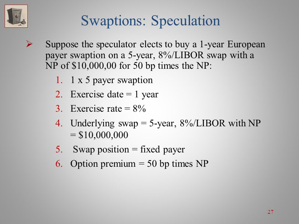 27 Swaptions: Speculation Suppose the speculator elects to buy a 1-year European payer swaption on a 5-year, 8%/LIBOR swap with a NP of $10,000,00 for