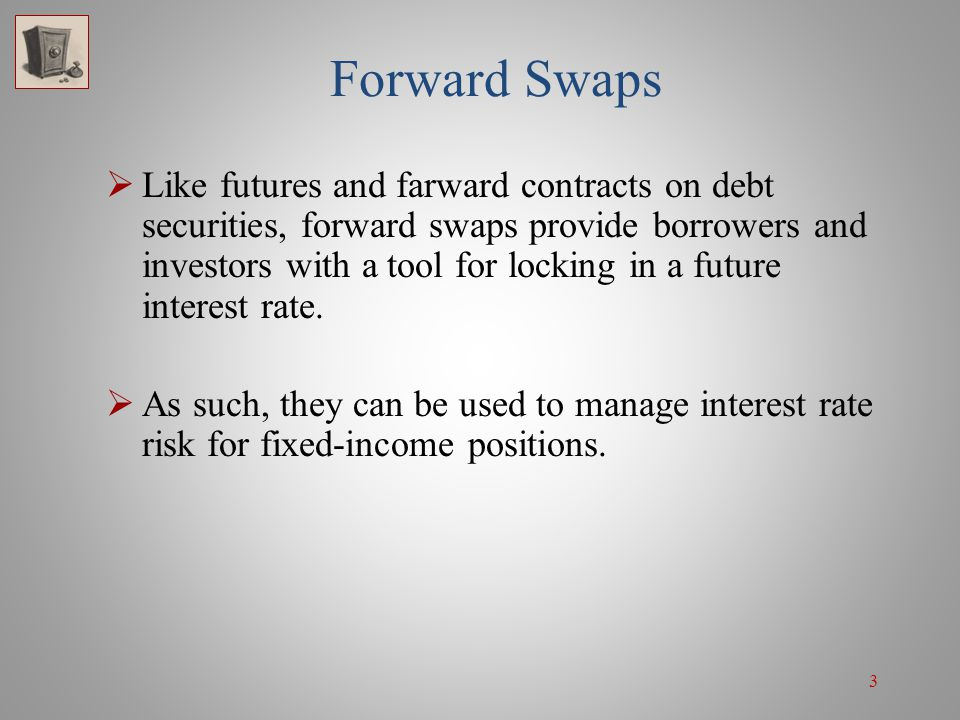 34 Swaptions: Speculation For example, if the fixed rate on a 5-year par value swap were 7%, the investor would exercise her receiver swaption by taking the 8% floating-rate payers swap and then sell the position to another counterparty.