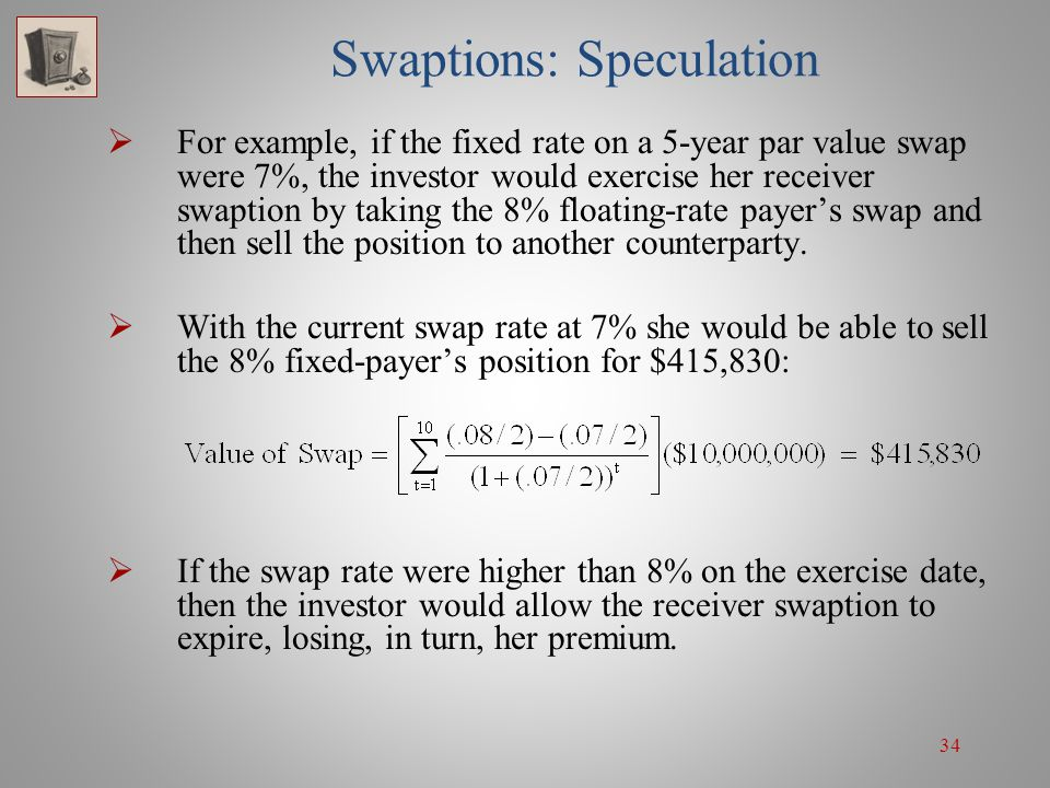 34 Swaptions: Speculation For example, if the fixed rate on a 5-year par value swap were 7%, the investor would exercise her receiver swaption by taki