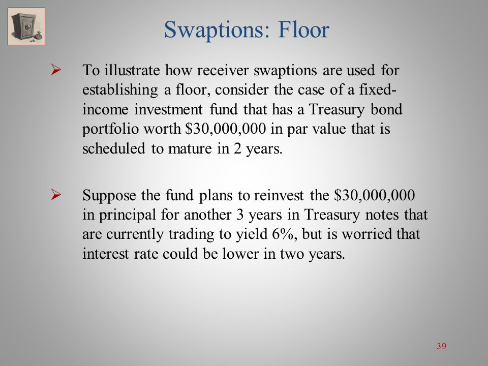 39 Swaptions: Floor To illustrate how receiver swaptions are used for establishing a floor, consider the case of a fixed- income investment fund that
