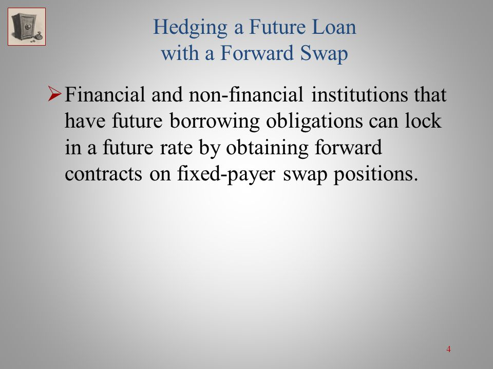 15 Hedging a Future Investment Instead of forming a synthetic fixed investment position, the investor alternatively could sell the 3-year 9%/LIBOR swap underlying the forward swap contract and invest in a 3-year fixed-rate note.
