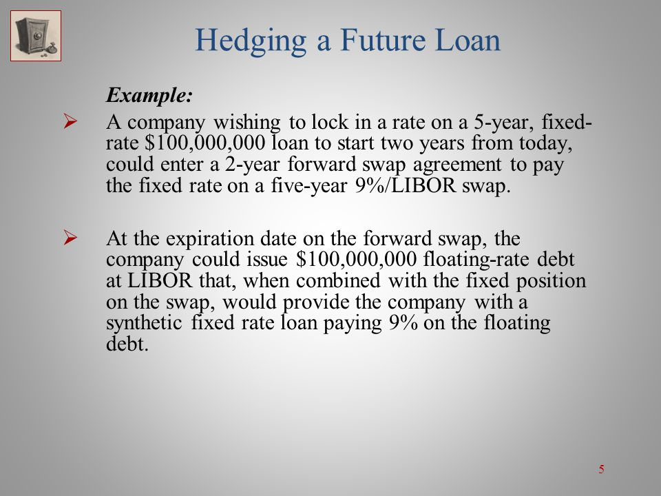 5 Hedging a Future Loan Example: A company wishing to lock in a rate on a 5-year, fixed- rate $100,000,000 loan to start two years from today, could e