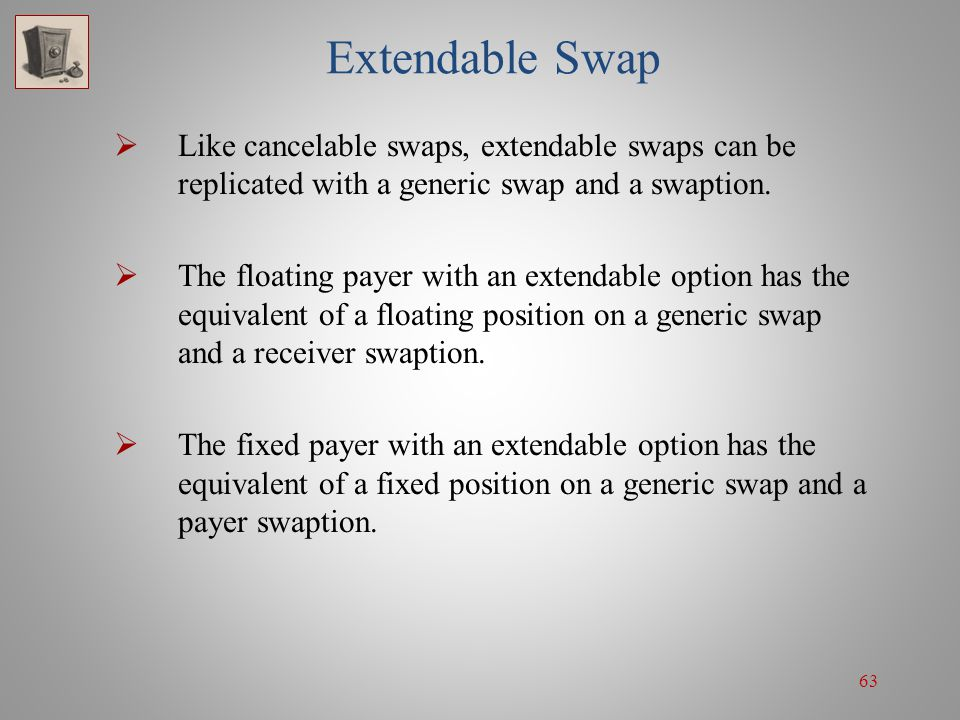 63 Extendable Swap Like cancelable swaps, extendable swaps can be replicated with a generic swap and a swaption. The floating payer with an extendable