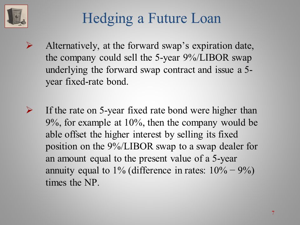 18 Hedging a Future Investment On the other hand, if the rate on 3-year fixed-rate securities were higher than 9%, the investment company would benefit from the higher investment rate, but would lose on closing its swap position.