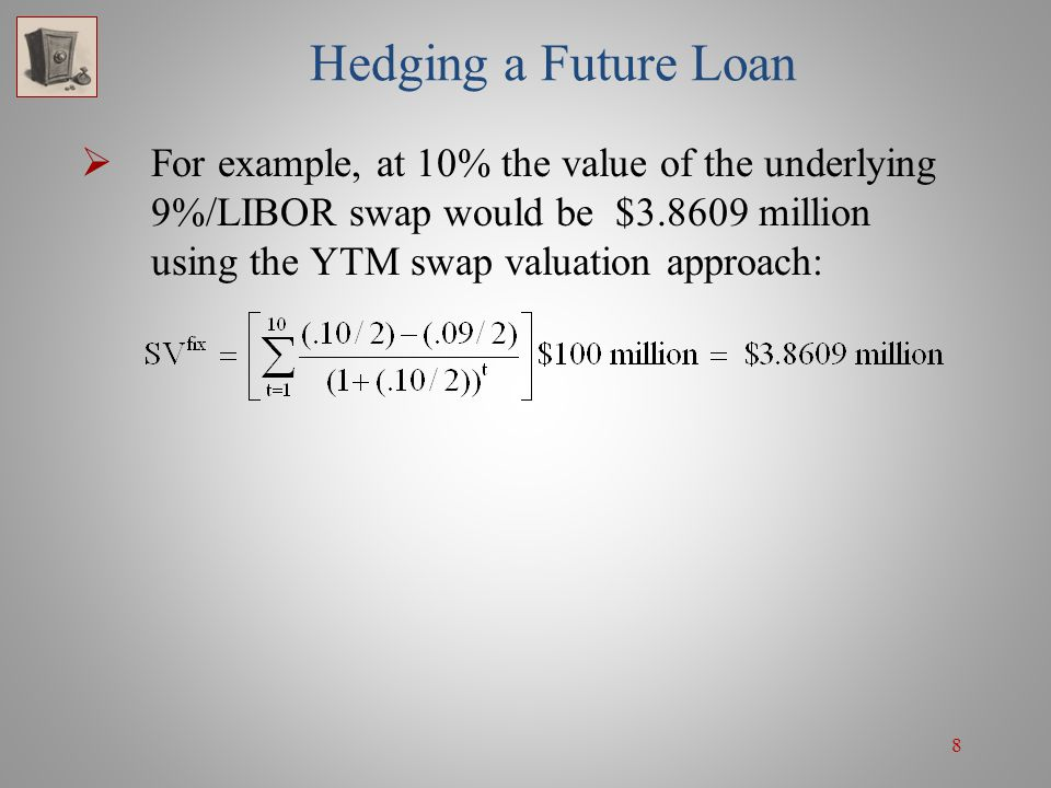 8 Hedging a Future Loan For example, at 10% the value of the underlying 9%/LIBOR swap would be $3.8609 million using the YTM swap valuation approach: