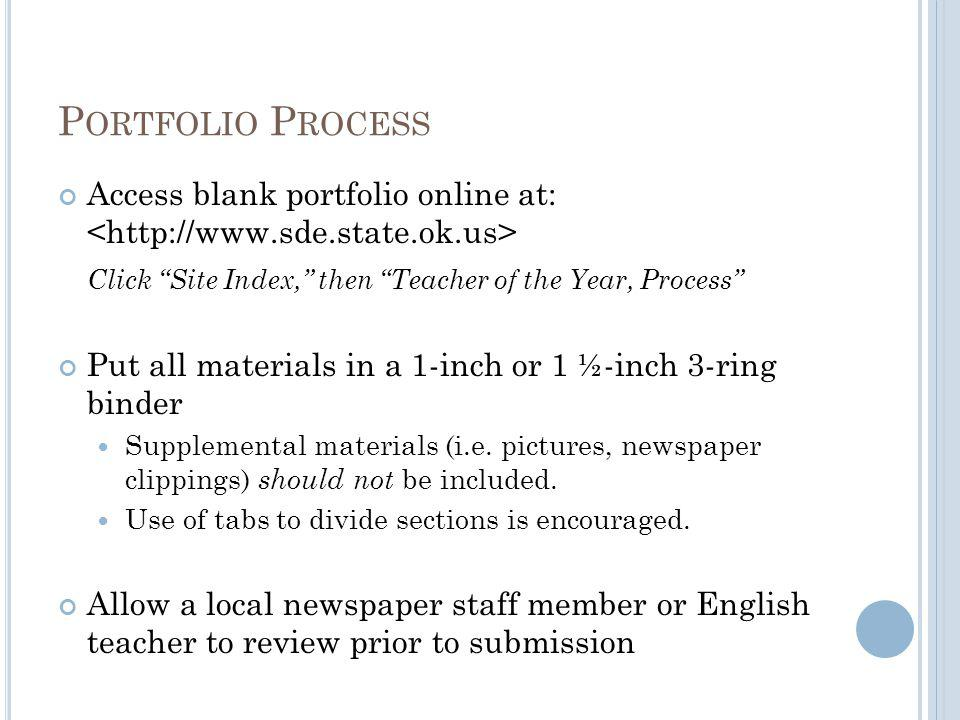 P ORTFOLIO S ECTIONS Please include full address of school site.