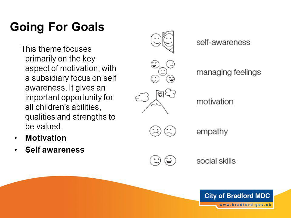 Going For Goals This theme focuses primarily on the key aspect of motivation, with a subsidiary focus on self awareness. It gives an important opportu