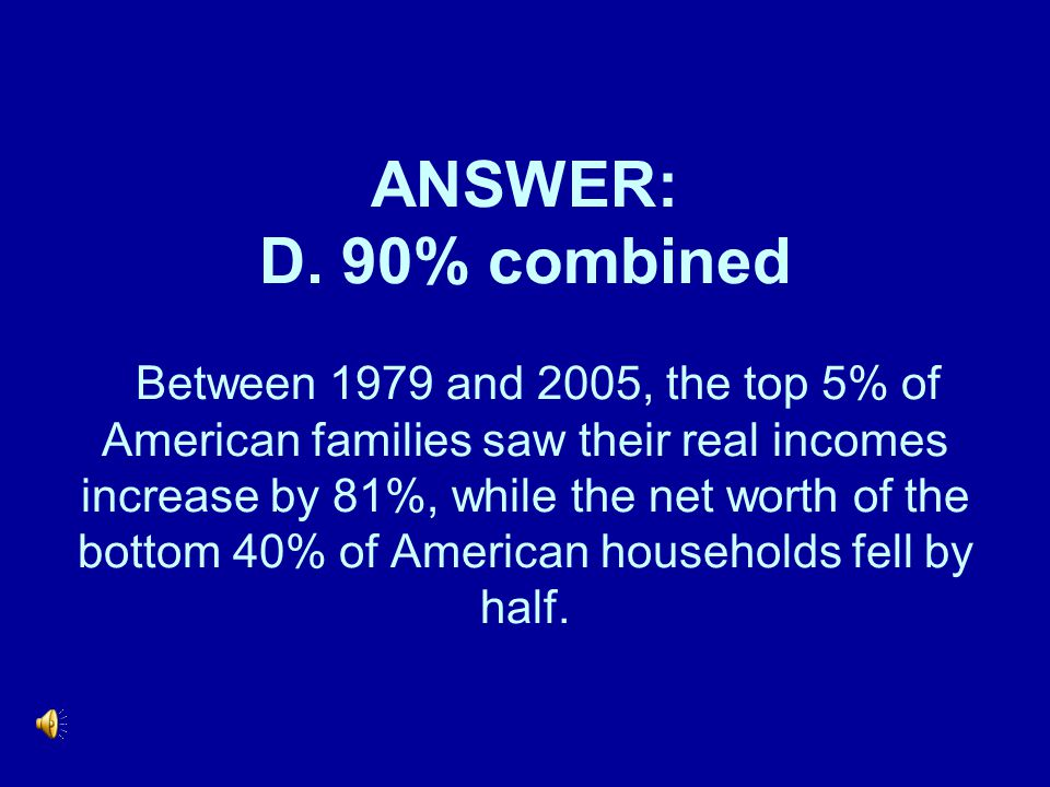 ANSWER: D. 90% combined Between 1979 and 2005, the top 5% of American families saw their real incomes increase by 81%, while the net worth of the bott