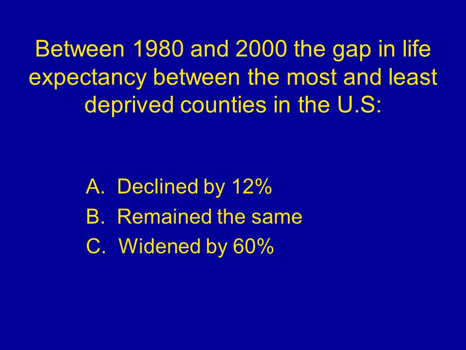 Between 1980 and 2000 the gap in life expectancy between the most and least deprived counties in the U.S: A. Declined by 12% B. Remained the same C. W