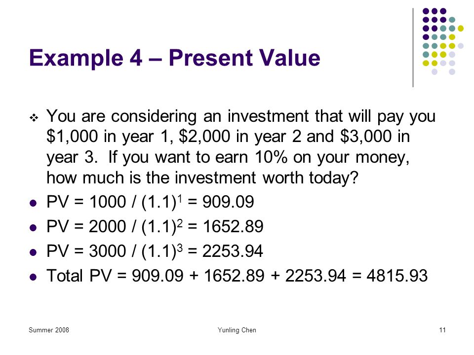 Summer 2008Yunling Chen11 Example 4 – Present Value You are considering an investment that will pay you $1,000 in year 1, $2,000 in year 2 and $3,000