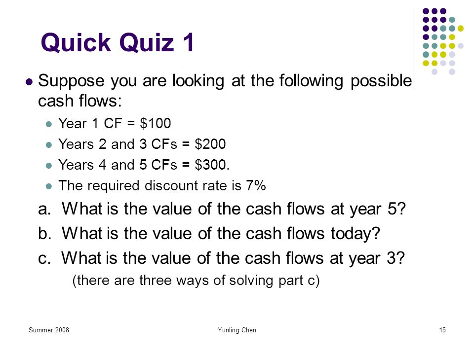 Summer 2008Yunling Chen15 Quick Quiz 1 Suppose you are looking at the following possible cash flows: Year 1 CF = $100 Years 2 and 3 CFs = $200 Years 4