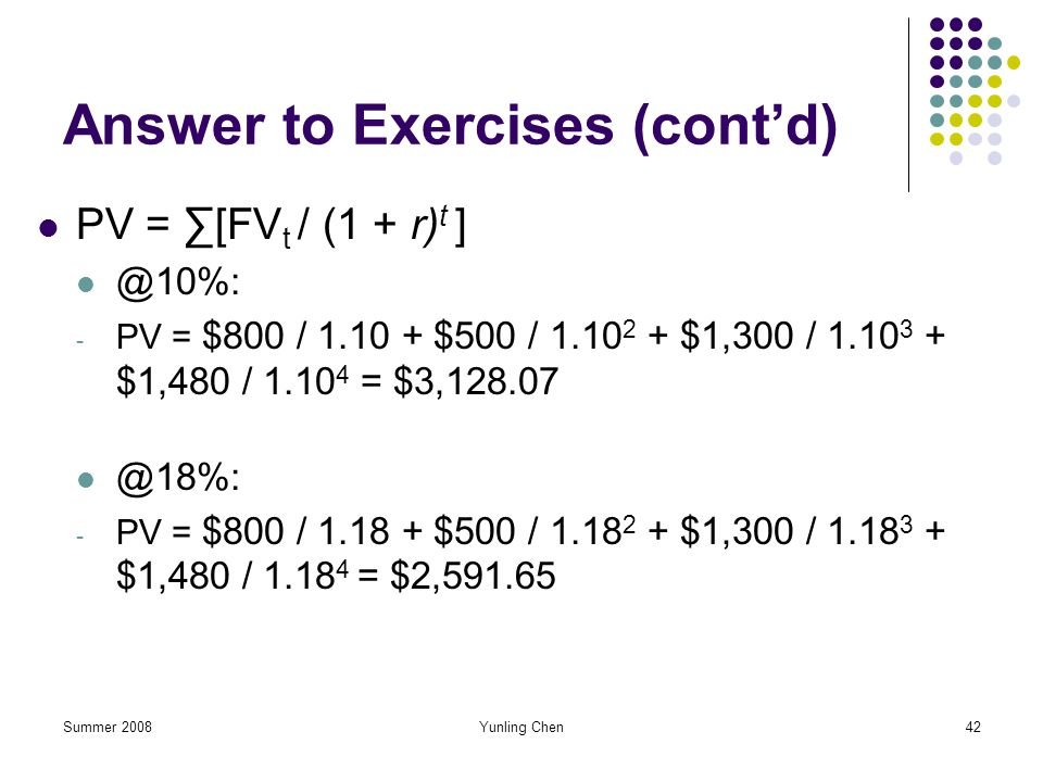 Summer 2008Yunling Chen42 Answer to Exercises (contd) PV = [FV t / (1 + r) t ] @10%: - PV = $800 / 1.10 + $500 / 1.10 2 + $1,300 / 1.10 3 + $1,480 / 1