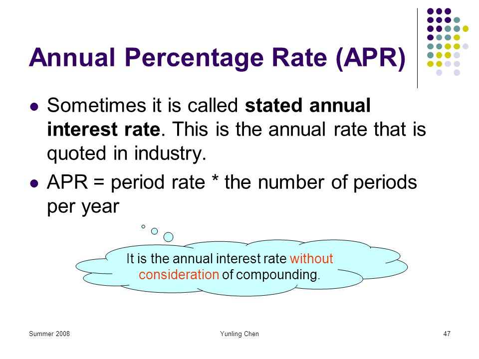Summer 2008Yunling Chen47 Annual Percentage Rate (APR) Sometimes it is called stated annual interest rate. This is the annual rate that is quoted in i
