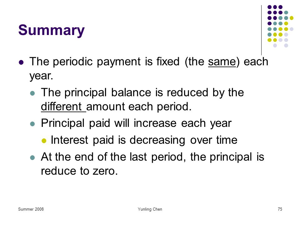 Summer 2008Yunling Chen75 Summary The periodic payment is fixed (the same) each year. The principal balance is reduced by the different amount each pe