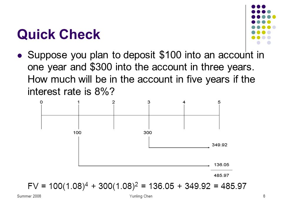 Summer 2008Yunling Chen8 Quick Check Suppose you plan to deposit $100 into an account in one year and $300 into the account in three years. How much w