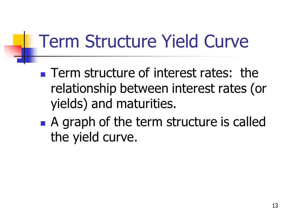 13 Term Structure Yield Curve Term structure of interest rates: the relationship between interest rates (or yields) and maturities. A graph of the ter