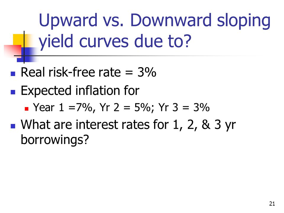 Upward vs. Downward sloping yield curves due to? Real risk-free rate = 3% Expected inflation for Year 1 =7%, Yr 2 = 5%; Yr 3 = 3% What are interest ra