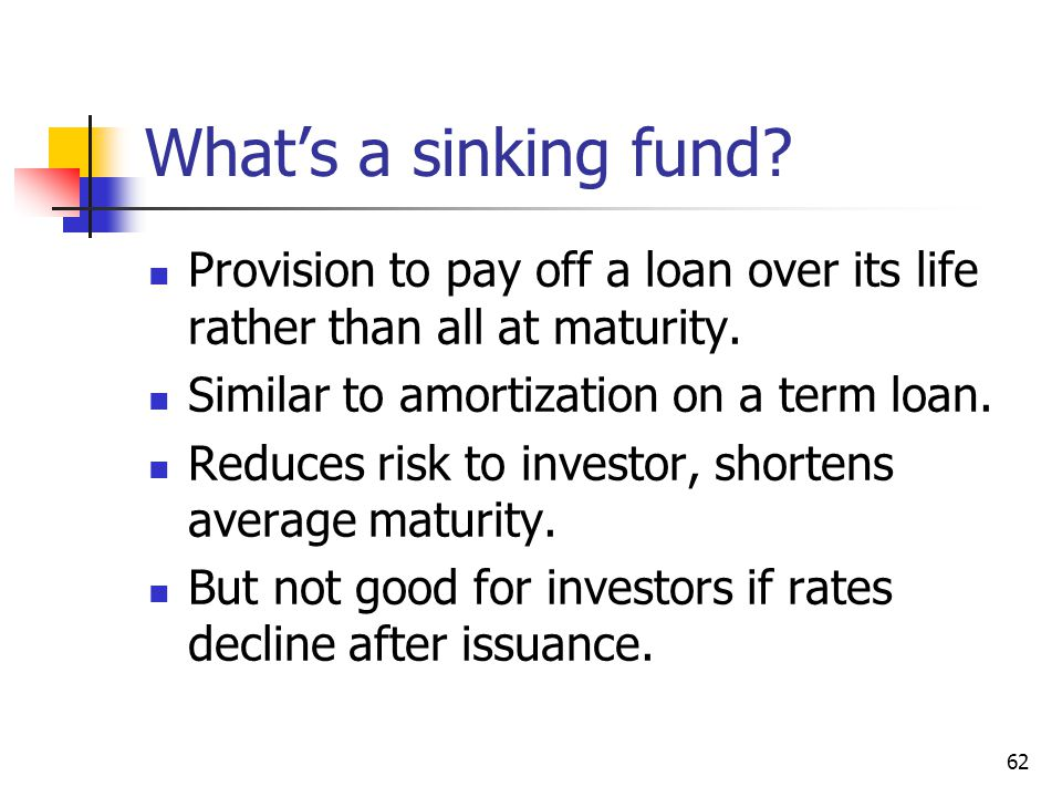 62 Whats a sinking fund? Provision to pay off a loan over its life rather than all at maturity. Similar to amortization on a term loan. Reduces risk t