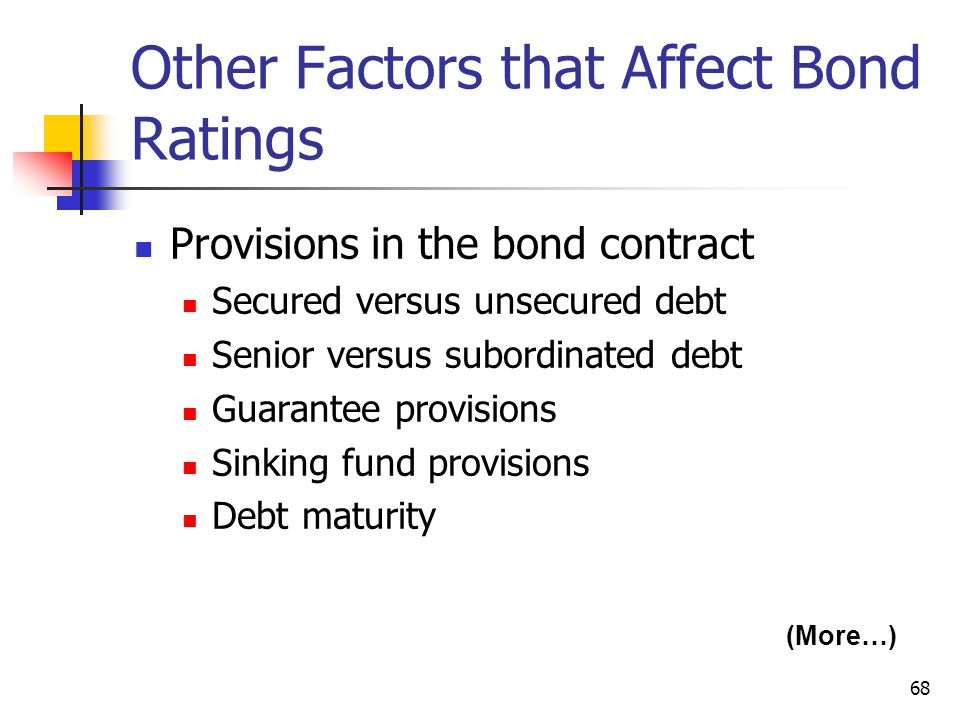 68 Other Factors that Affect Bond Ratings Provisions in the bond contract Secured versus unsecured debt Senior versus subordinated debt Guarantee prov