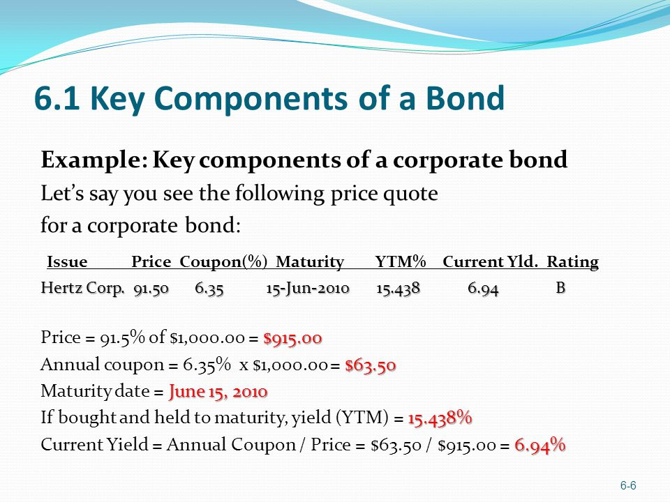 6.1 Key Components of a Bond Example: Key components of a corporate bond Lets say you see the following price quote for a corporate bond: Issue Price