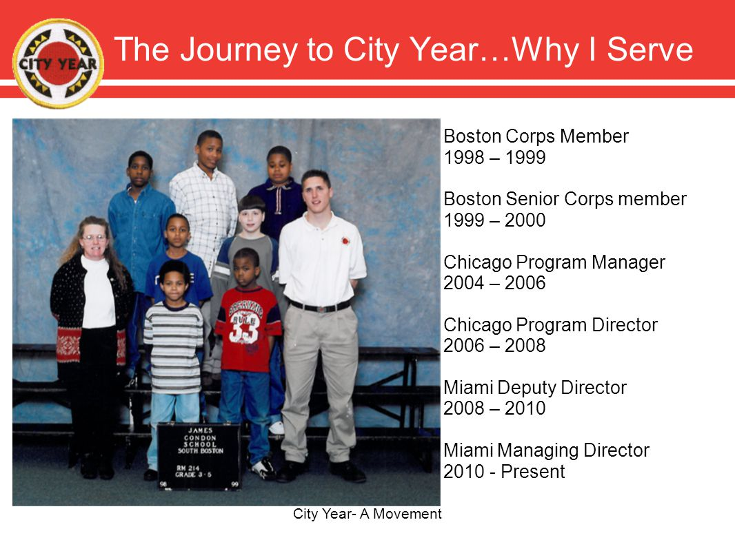 The Journey to City Year…Why I Serve City Year- A Movement Boston Corps Member 1998 – 1999 Boston Senior Corps member 1999 – 2000 Chicago Program Manager 2004 – 2006 Chicago Program Director 2006 – 2008 Miami Deputy Director 2008 – 2010 Miami Managing Director 2010 - Present