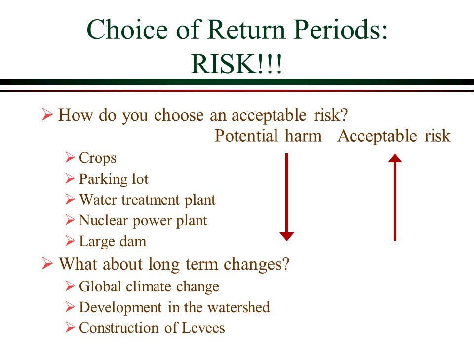 Choice of Return Periods: RISK!!.How do you choose an acceptable risk.