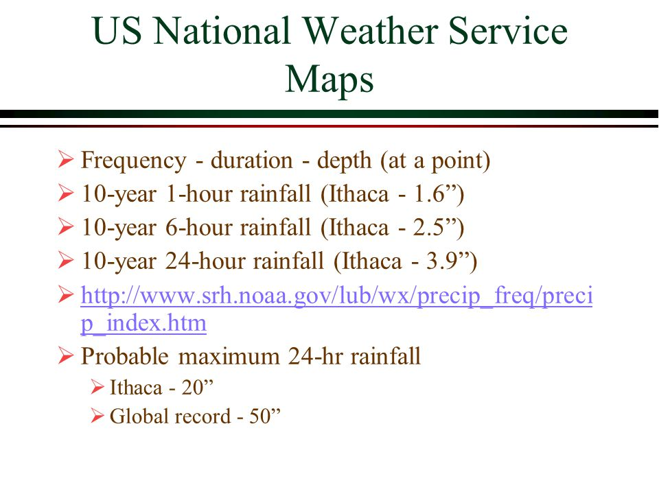 US National Weather Service Maps Frequency - duration - depth (at a point) 10-year 1-hour rainfall (Ithaca - 1.6) 10-year 6-hour rainfall (Ithaca - 2.5) 10-year 24-hour rainfall (Ithaca - 3.9) http://www.srh.noaa.gov/lub/wx/precip_freq/preci p_index.htm http://www.srh.noaa.gov/lub/wx/precip_freq/preci p_index.htm Probable maximum 24-hr rainfall Ithaca - 20 Global record - 50