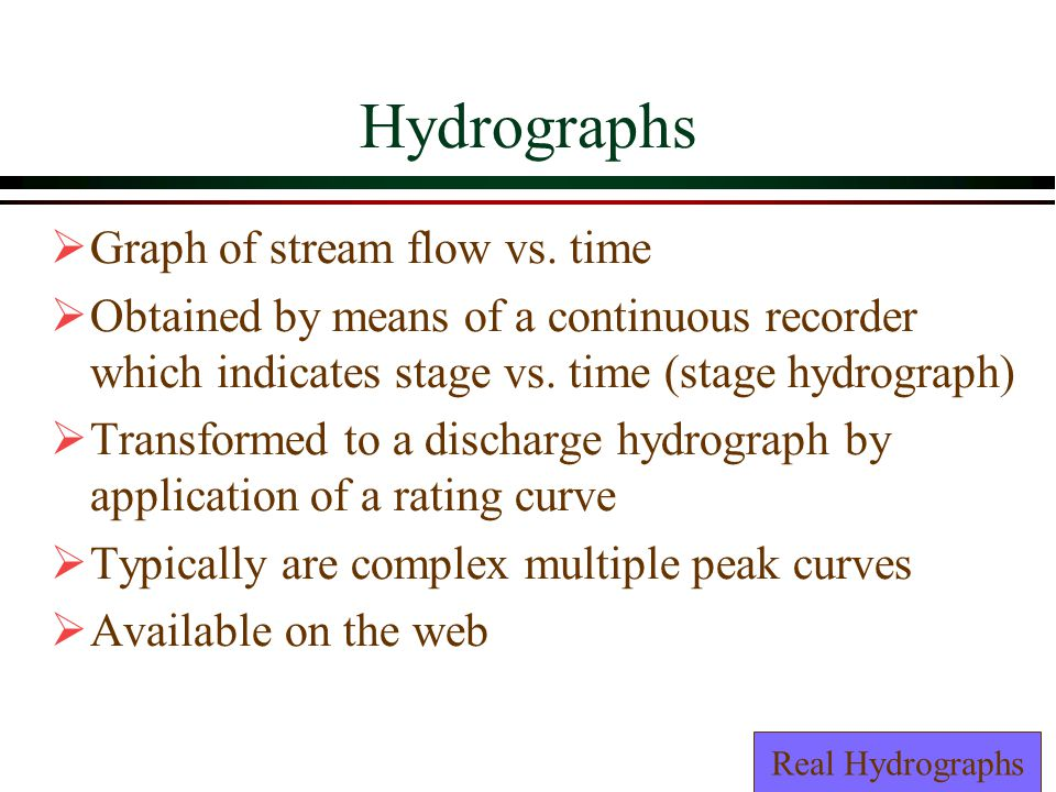 Hydrographs Graph of stream flow vs.