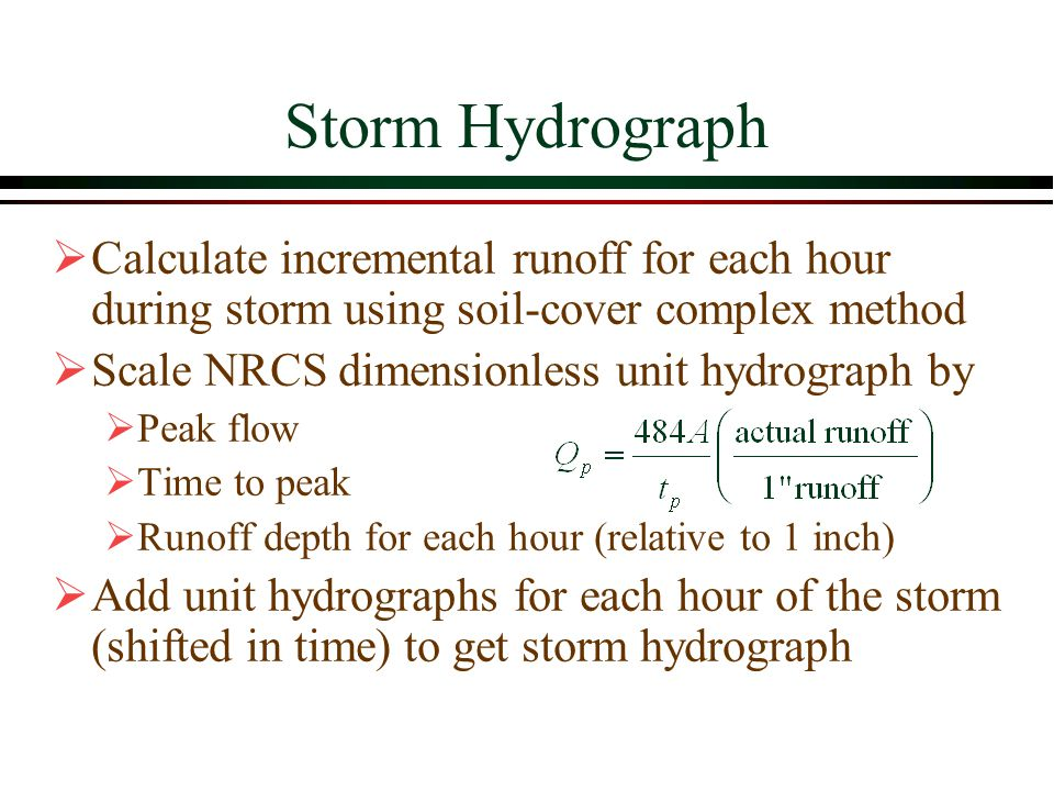 Storm Hydrograph Calculate incremental runoff for each hour during storm using soil-cover complex method Scale NRCS dimensionless unit hydrograph by Peak flow Time to peak Runoff depth for each hour (relative to 1 inch) Add unit hydrographs for each hour of the storm (shifted in time) to get storm hydrograph