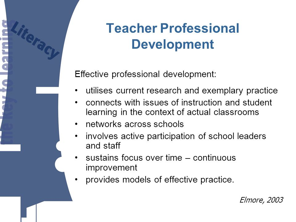 utilises current research and exemplary practice connects with issues of instruction and student learning in the context of actual classrooms networks across schools involves active participation of school leaders and staff sustains focus over time – continuous improvement provides models of effective practice.