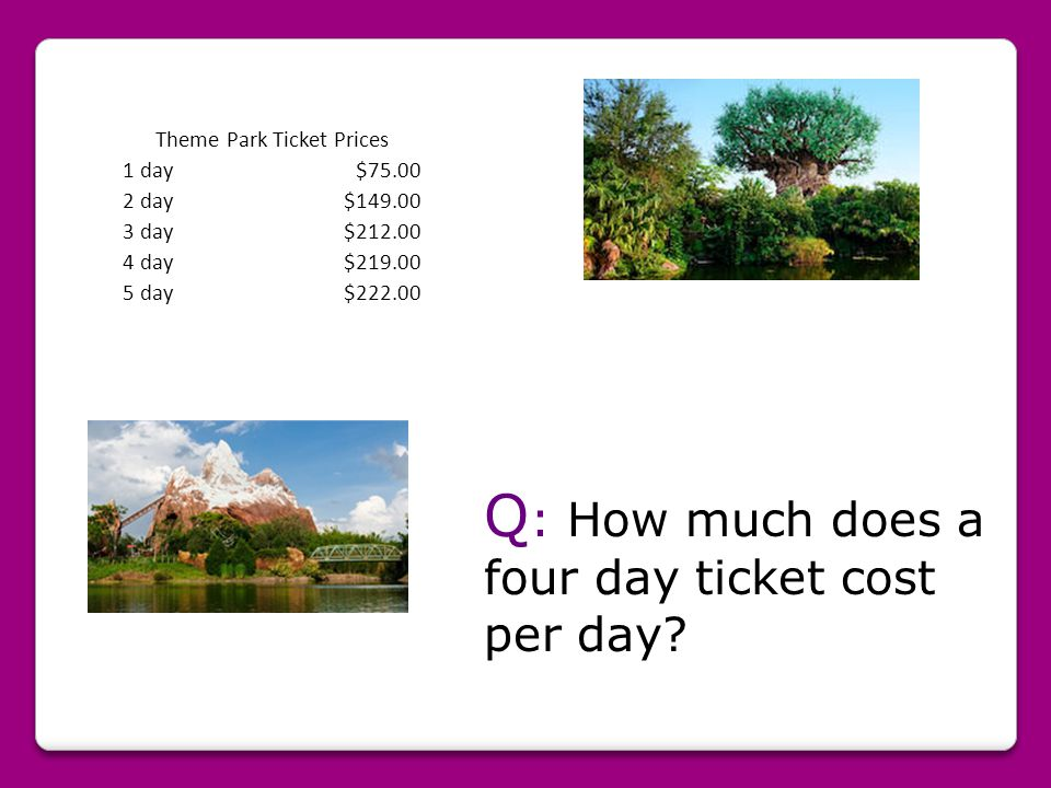 Theme Park Ticket Prices 1 day$75.00 2 day$149.00 3 day$212.00 4 day$219.00 5 day$222.00 Q : How much does a four day ticket cost per day?
