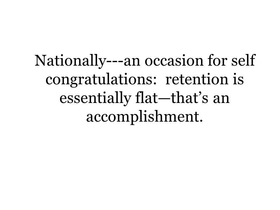 Nationally---an occasion for self congratulations: retention is essentially flatthats an accomplishment.