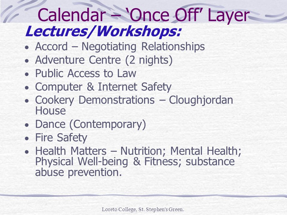 Calendar – Once Off Layer Lectures/Workshops: Accord – Negotiating Relationships Adventure Centre (2 nights) Public Access to Law Computer & Internet Safety Cookery Demonstrations – Cloughjordan House Dance (Contemporary) Fire Safety Health Matters – Nutrition; Mental Health; Physical Well-being & Fitness; substance abuse prevention.