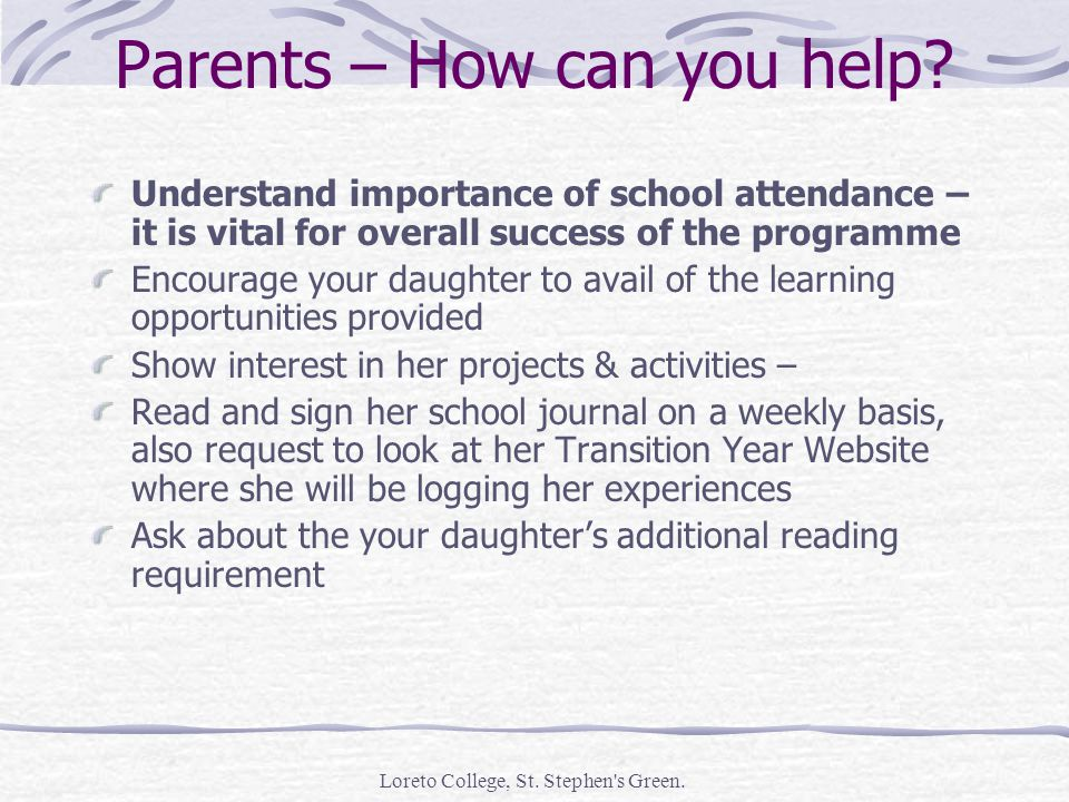 Loreto College, St. Stephen s Green. Parents – How can you help.