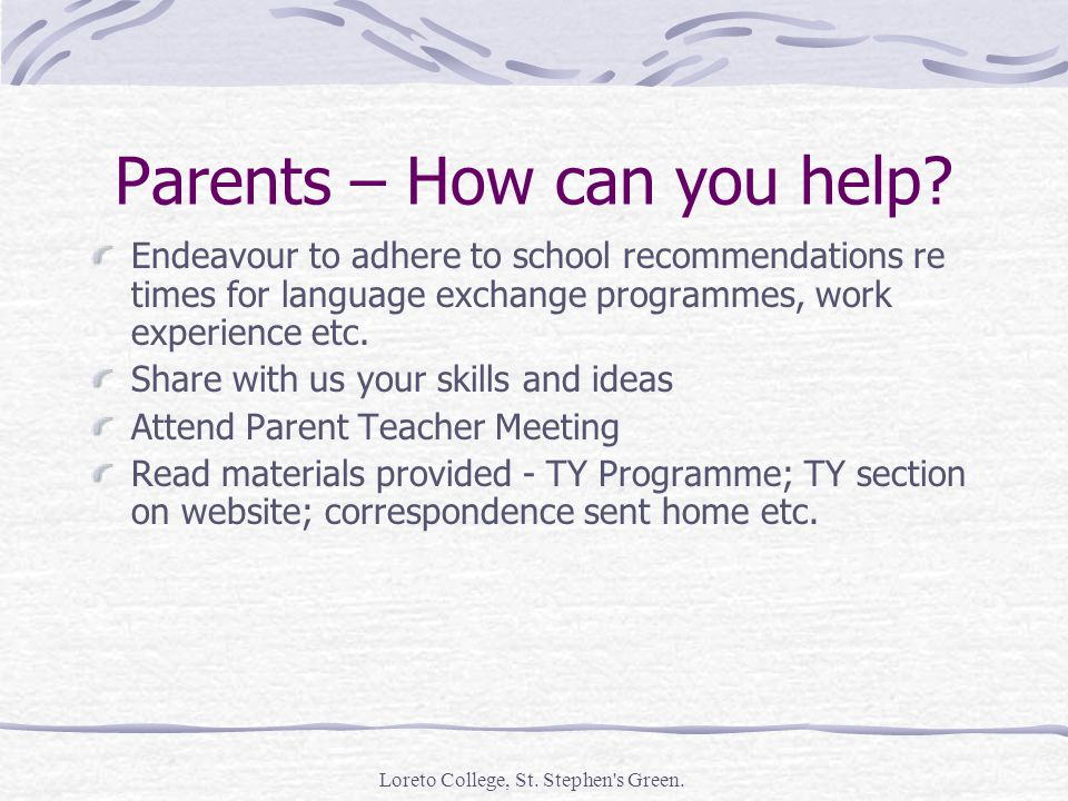 Parents – How can you help.
