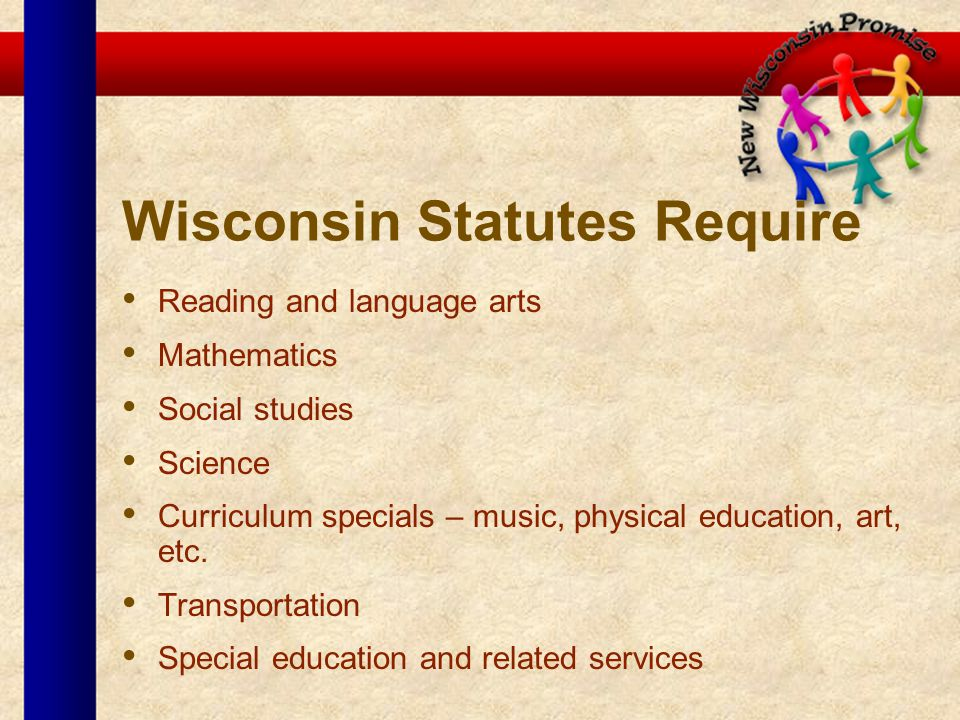 Wisconsin Statutes Require Reading and language arts Mathematics Social studies Science Curriculum specials – music, physical education, art, etc.