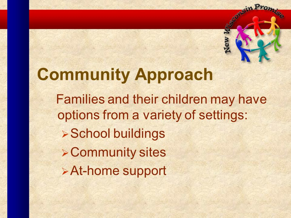 Community Approach Families and their children may have options from a variety of settings: School buildings Community sites At-home support