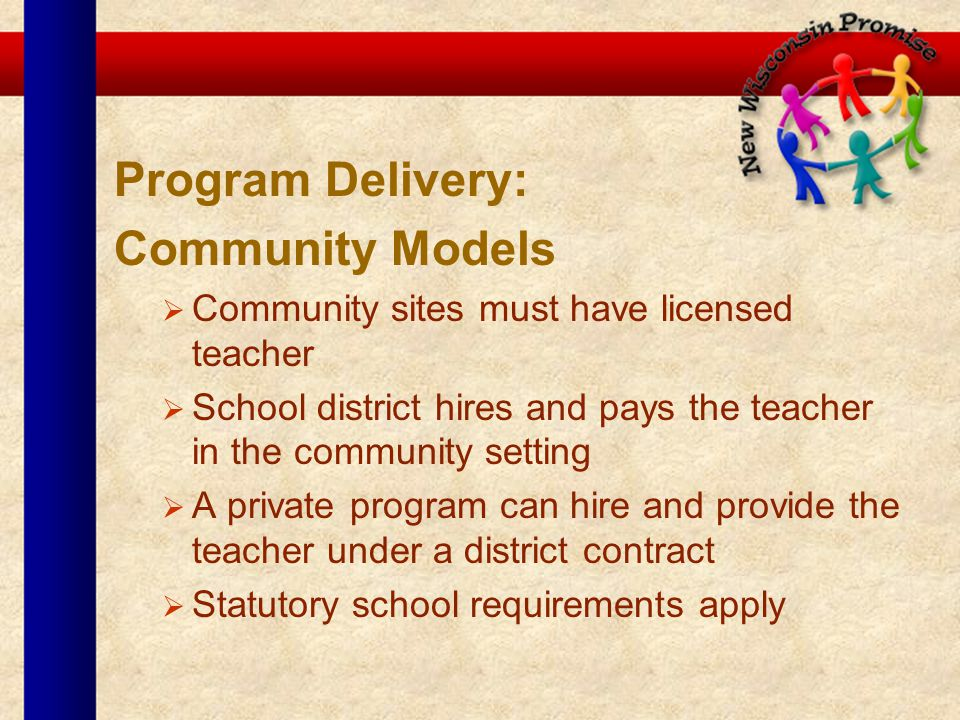 Program Delivery: Community Models Community sites must have licensed teacher School district hires and pays the teacher in the community setting A pr