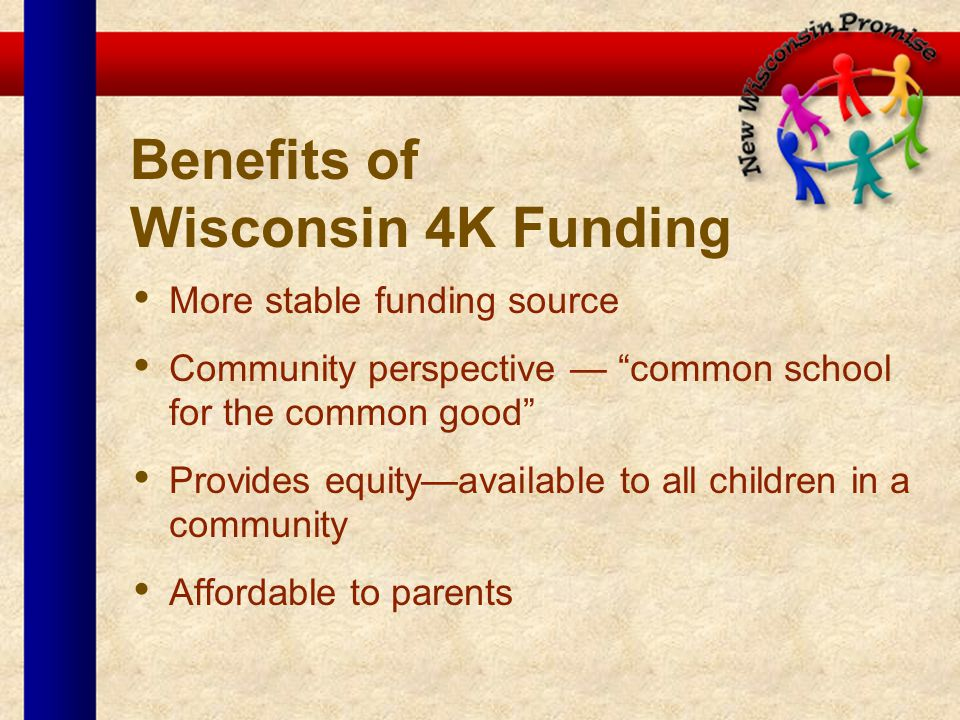 Benefits of Wisconsin 4K Funding More stable funding source Community perspective common school for the common good Provides equityavailable to all ch