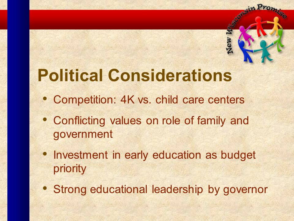 Political Considerations Competition: 4K vs. child care centers Conflicting values on role of family and government Investment in early education as b