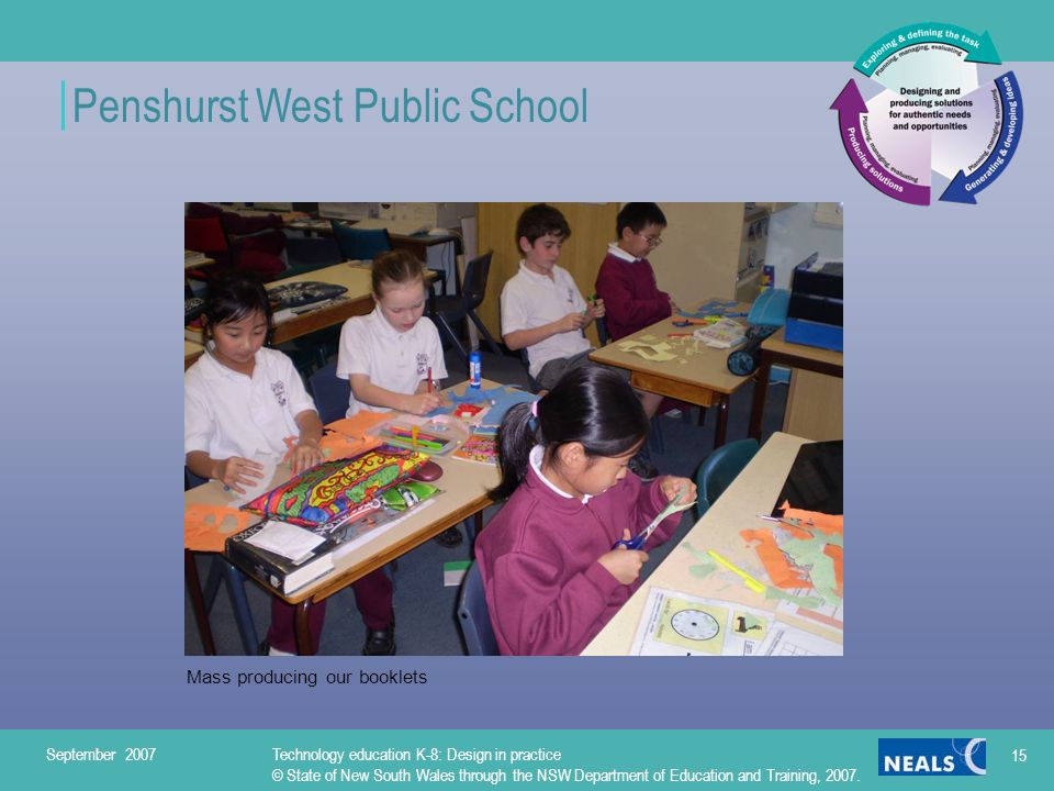 Penshurst West Public School Mass producing our booklets September 2007Technology education K-8: Design in practice © State of New South Wales through the NSW Department of Education and Training, 2007.