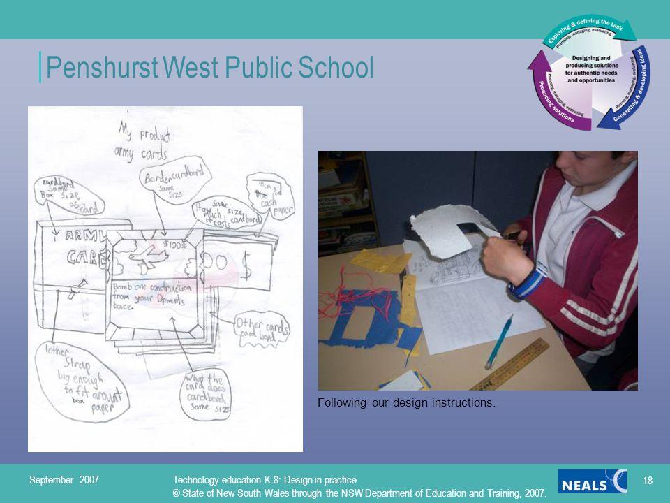 Penshurst West Public School Following our design instructions.