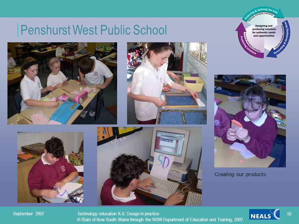 Penshurst West Public School September 2007Technology education K-8: Design in practice © State of New South Wales through the NSW Department of Education and Training, 2007.