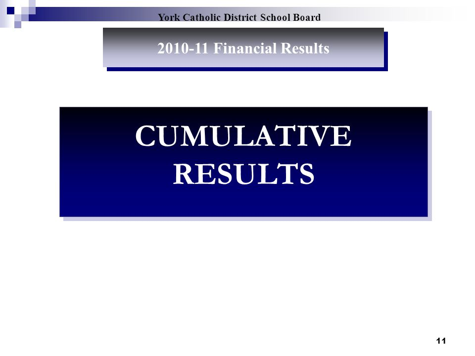 11 York Catholic District School Board 2010-11 Financial Results CUMULATIVE RESULTS