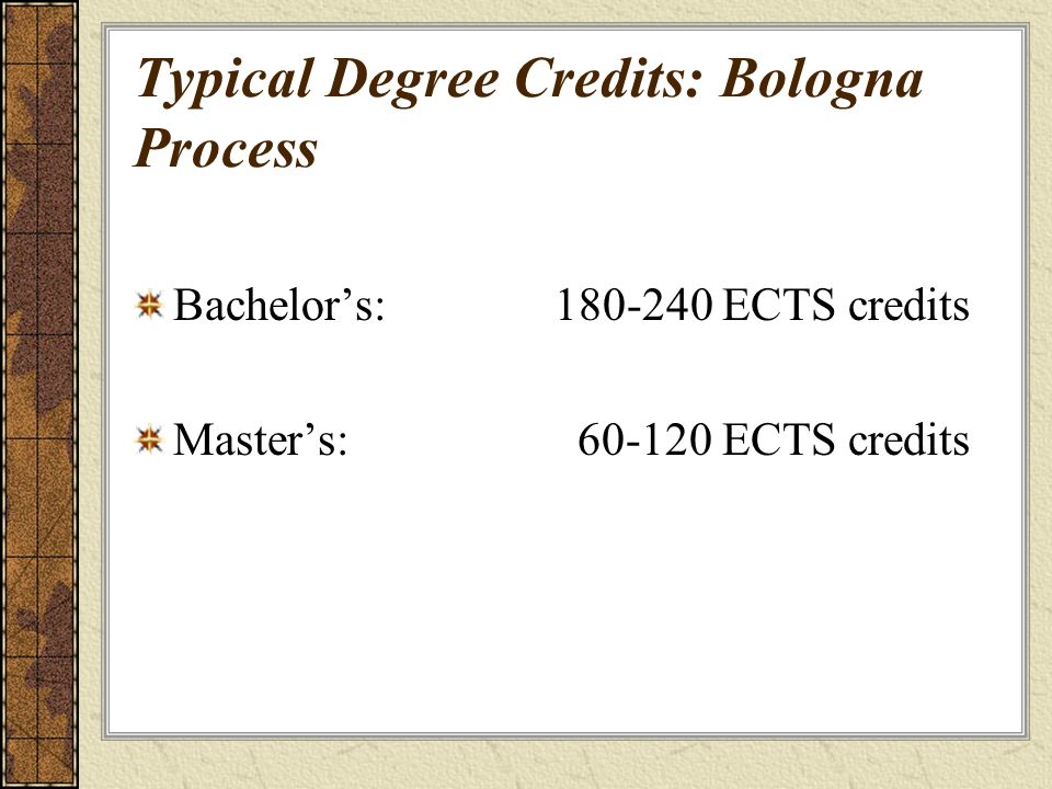 Typical Degree Credits: Bologna Process Bachelors: 180-240 ECTS credits Masters: 60-120 ECTS credits