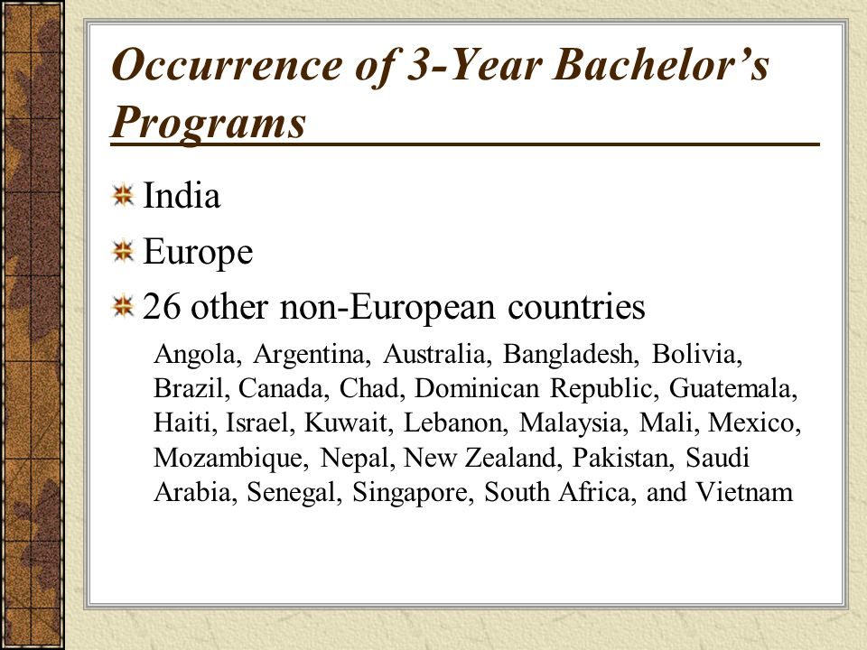 Occurrence of 3-Year Bachelors Programs India Europe 26 other non-European countries Angola, Argentina, Australia, Bangladesh, Bolivia, Brazil, Canada, Chad, Dominican Republic, Guatemala, Haiti, Israel, Kuwait, Lebanon, Malaysia, Mali, Mexico, Mozambique, Nepal, New Zealand, Pakistan, Saudi Arabia, Senegal, Singapore, South Africa, and Vietnam