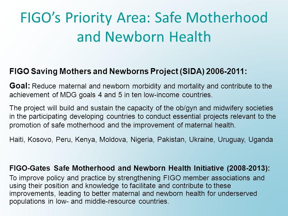 FIGOs Priority Area: Safe Motherhood and Newborn Health FIGO Saving Mothers and Newborns Project (SIDA) 2006-2011: Goal: Reduce maternal and newborn m