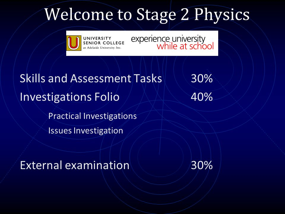 Welcome to Stage 2 Physics Skills and Assessment Tasks 30% Investigations Folio40% Practical Investigations Issues Investigation External examination3