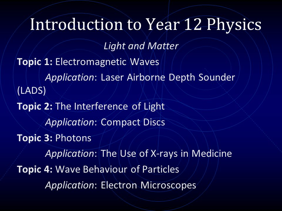 Introduction to Year 12 Physics Light and Matter Topic 1: Electromagnetic Waves Application: Laser Airborne Depth Sounder (LADS) Topic 2: The Interfer